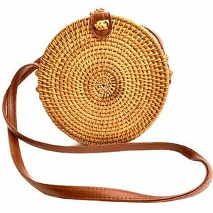 ROUND Straw Basket Weave Brown Crossbody Bag